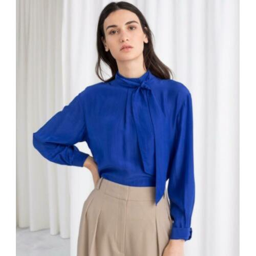 & Other stories kobalt blauw blouse 34 strik